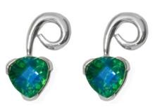 quartz, gemstone, Sterling silver, earrings, trillion cut, gemstone, post, stud