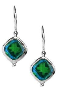 sterling silver, siesta key watercolor, gemstone, earrings, blue, green, quartz
