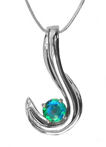14K , WHITE GOLD, necklace, pendant, Siesta key watercolor, gemstone, quartz, green, blue