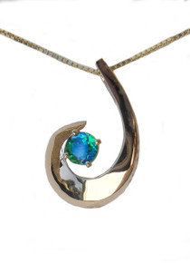 14K, gold, siesta key, watercolor, gemstone, necklace, pendant