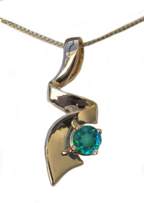 14K, gold, siesta Key, watercolor, gemstone, pendant, necklace