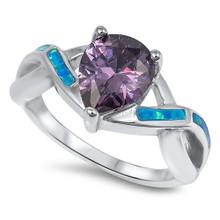 opal, amethyst, sterling silver, blue, ring, pear, infinity