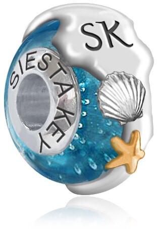 Pandora, Bead, siesta key, island, blue, sterling silver, bead, starfish, shell