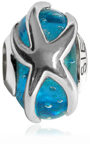 Siesta Key, bead, starfish, sterling silver, pandora, blue, 925