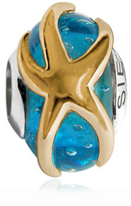 starfish, bead, sterling silver, siesta key, pandora, troll, 925, gold, blue