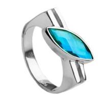 siesta Key watercolor, gemstone, ring, sterling silver, marquise, green, blue