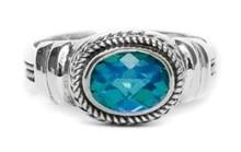 sterling silver, ring, oval, siesta key watercolor gemstone, green, blue, vintage