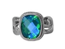 sterling silver, ring, rectangle, siesta key watercolor gemstone, green, blue