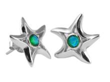gemstone, Starfish, Studs,silver, earrings, green,island,siesta key