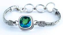 Siesta Key Gemstone, Bracelet, silver, byzantine, green, blue,925