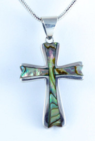 abalone shell, cross, silver, necklace, pendant, sterling, 925