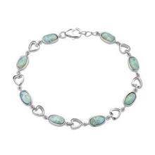 silver, blue, larimar, heart, bracelet, sterling