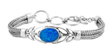 blue, silver lab opal, sterling, bracelet
