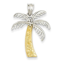 14K, Gold, Palm Tree, Two Tone, Pendant, necklace