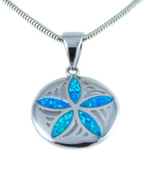sterling silver, sand dollar, pendant, necklace, blue opal