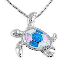 necklace, lab created opal,silver, sea turtle, opal, white, blue, pendant