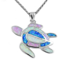 sterling silver, pendant, opal, blue, white, sea turtle