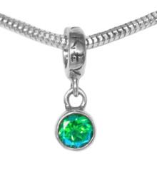 Pandora, bracelet bead, sterling silver, gemstone, green
