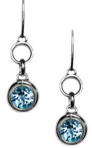 Blue,Topaz, sterling silver, earrings, gemstone, round,