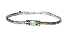 opal, sterling silver, white, bracelet, oval, lab created