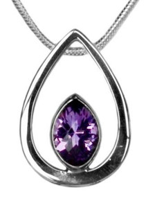 Amethyst, necklace, silver, purple, pear, pendant, shiny