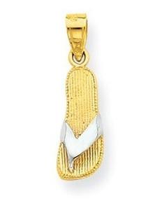 GOLD, charm, flip flop, necklace, pendant, 10k gold, yellow