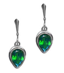 earrings,siesta key, silver, pear, gemstone, green, watercolor, quartz,