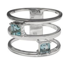 Blue Topaz, Ring, silver, rectangle, emerald cut, Sterling, band