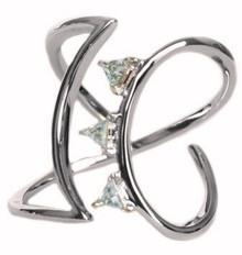 blue Topaz, silver, ring, modern, trillion cut, sterling