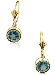 gold, earrings, dangles, blue topaz, lever back, hooks bezel set