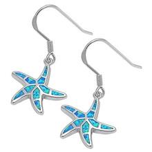 Sterling silver, earrings, starfish, Opal, Blue, Siesta Key, hooks