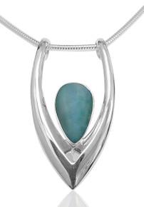 LARIMAR , pendant, necklace blue, pear, sterling silver, slide, modern