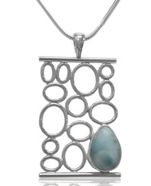 larimar, necklace, sterling silver, pendant, gemstone, blue, domincan republic