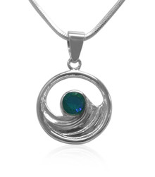 Siesta Key, Watercolor,Gemstone, wave, sterling silver, necklace, pendant
