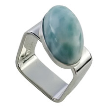 Larimar, sterling silver, ring, square, modern, oval, gemstone, blue, Dominican republic