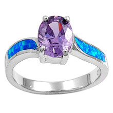 Blue, Purple, Amethyst, sterling silver, ring,  Opal, Cubic zirconia, oval