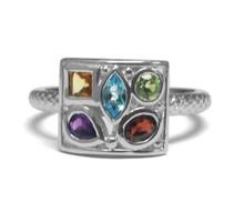 sterling silver, gemstone, ring, garnet, blue topaz, amethyst, citrine,  peridot, square