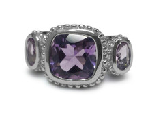 Sterling silver, Ring, Amethyst, 3 gemstone, Anniversary, Square, oval