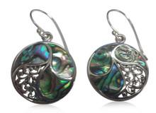 Abalone shell, sterling silver, earrings,  swirl, hooks