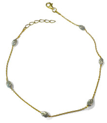 sterling silver, gold, anklet, two tone, adjustable, diamond cut