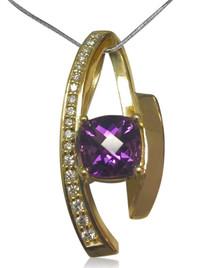 14K, yellow gold, diamond, amethyst, necklace, pendant, slide, cushion cut