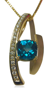 14K, gold, diamond, swiss blue, topaz, gemstone, slide, pendant, necklace