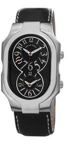 Philip Stein, watch, stainless steel, black, dual time zone, natural frequency technology