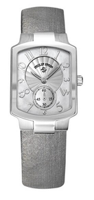 PHILIP STEIN, WATCH, MOTHER OF PEARL, SILVER, STAINLESS STEEL, Natural frequency technology, LEATHER STRAP