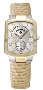 philip stein, watch, ladies, two tone, mother of peal, natural frequency technology, gold, silver