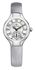 PHILIP STEIN, LADIES WATCH, stailess steel, mother of pearl, classic mini, leather strap