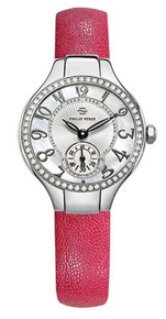PHILIP STEIN, Ladies watch, stainless steel, mother of pearl, classic round, leather strap, SILVER