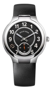 PHILIP STEIN, MEN'S WATCH, STAINLESS STEEL, BLACK,  CLASSIC ROUND, LEATHER STRAP