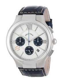 Philip Stein, men's watch, chronograph, white and blue dial, leather strap, natural frequency technology