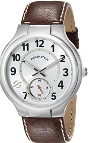PHILIP STEIN, Men's watch, stainless steel, classic large round, sports watch, leather strap, natural frequency technology